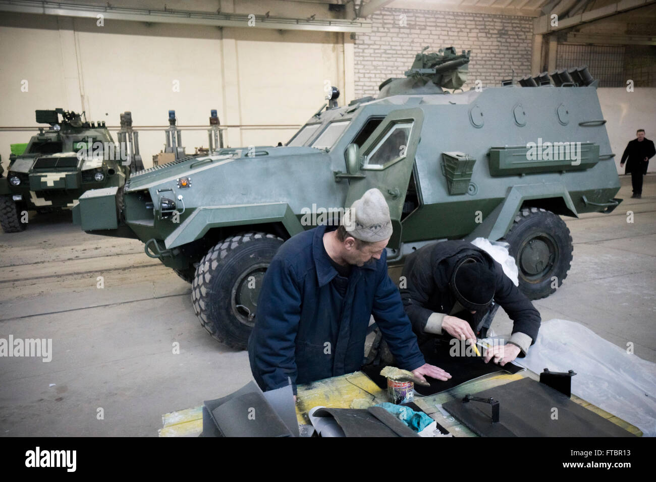 Material for the interior of a Dozor-B vehicle is prepared for fitting - Stock Image