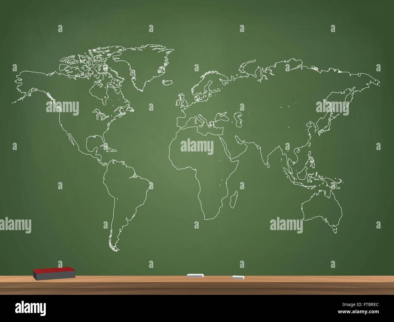 Realistic chalkboard world map vector illustration stock vector art realistic chalkboard world map vector illustration gumiabroncs Choice Image