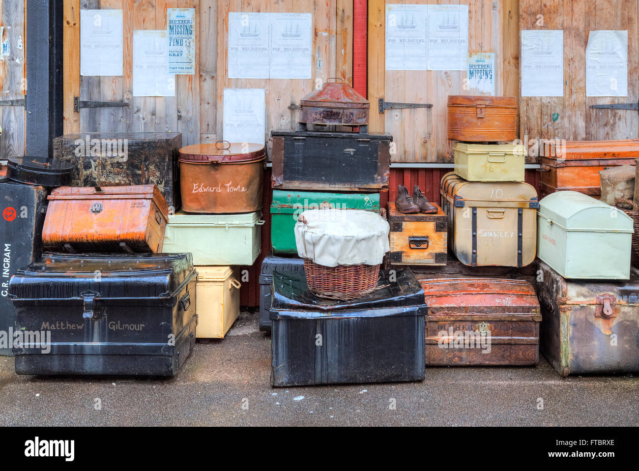 old luggage from the passengers of the SS Great Britain, Bristol, River Avon, South West, England, UK - Stock Image