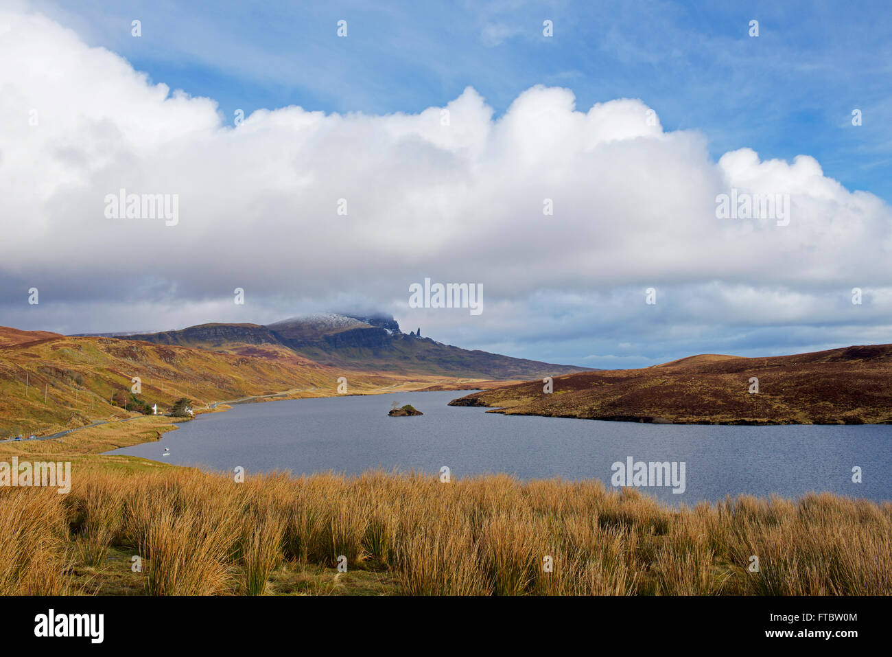 Loch Leathan and the Old Man of Storr, Isle of Skye Scotland UK - Stock Image