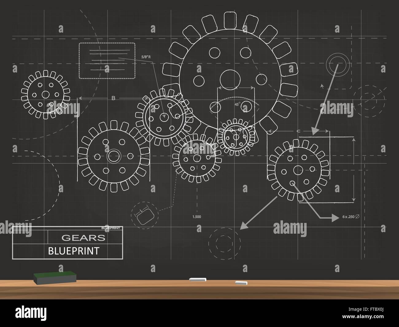 Gears blueprint chalkboard vector illustration stock vector art gears blueprint chalkboard vector illustration malvernweather Choice Image