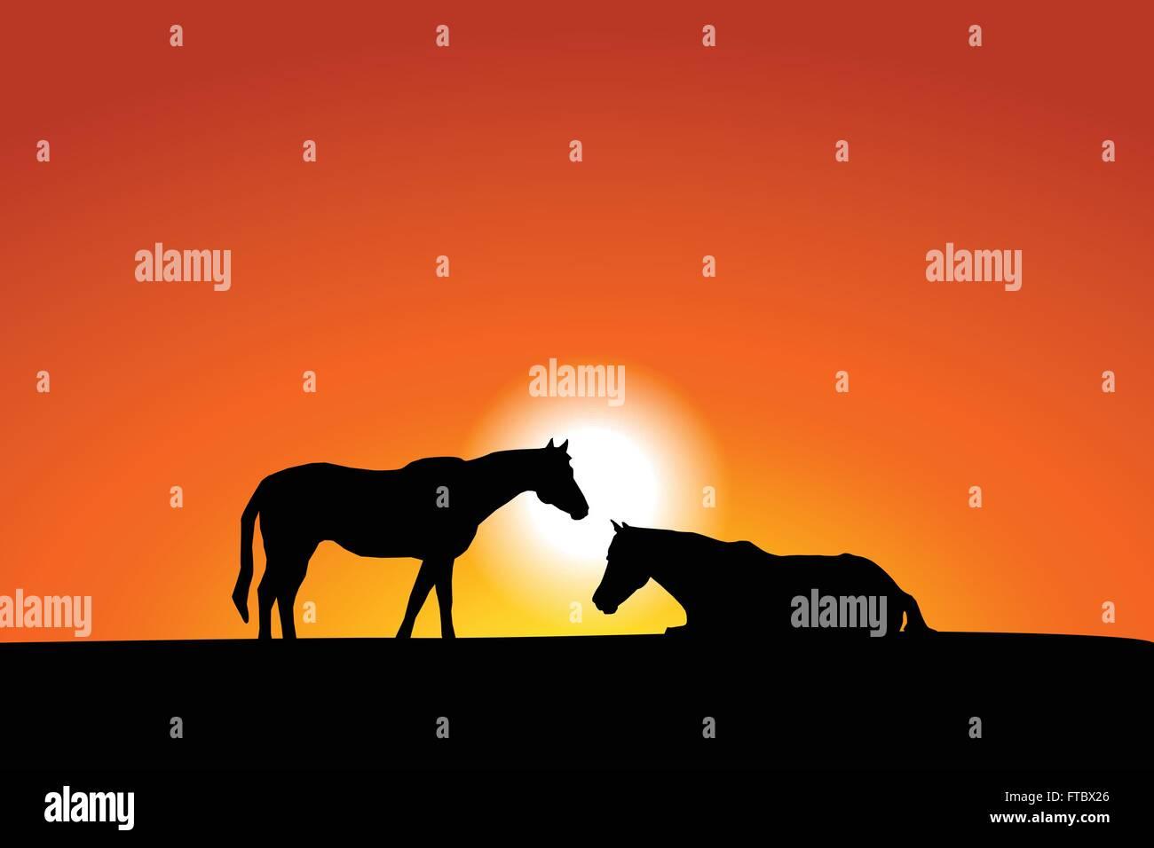 Horses at sunset illustration Stock Vector