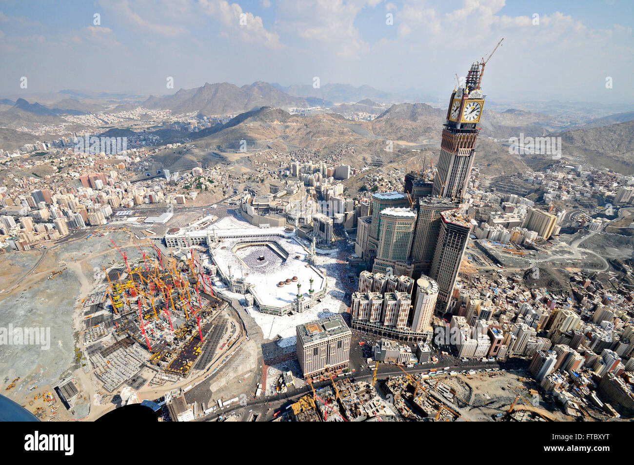 Aerial view of the Holy Kaaba in the Al-Masjid al Haram ...