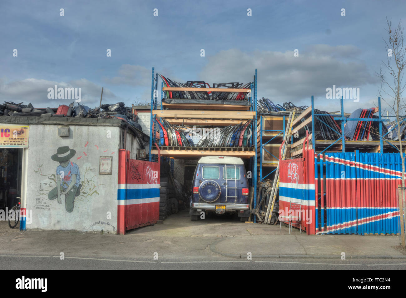 car breakers yard,  Hackney Wick  car parts - Stock Image