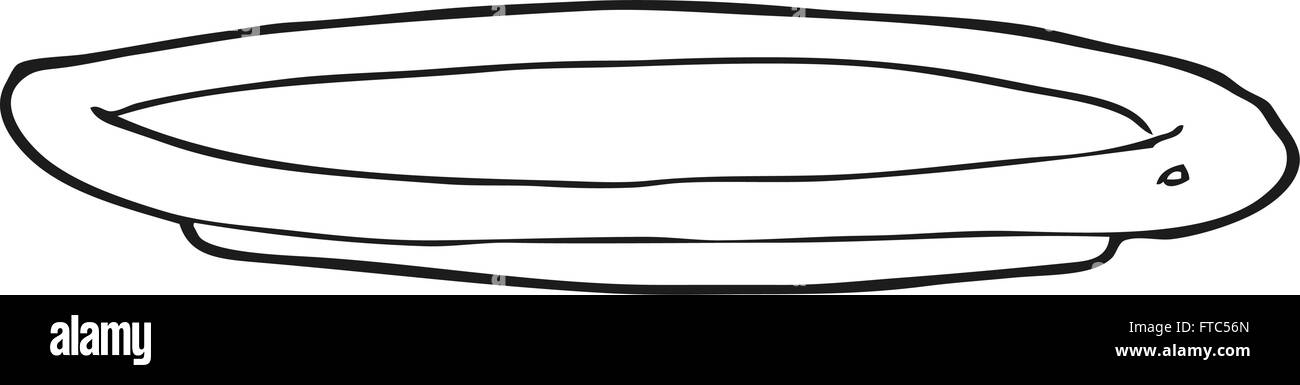 Freehand Drawn Black And White Cartoon Empty Plate Stock Vector Art