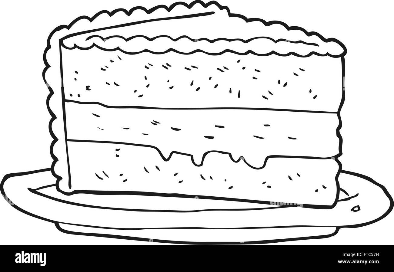 Freehand Drawn Cartoon Slice Cake Black and White Stock Photos ...