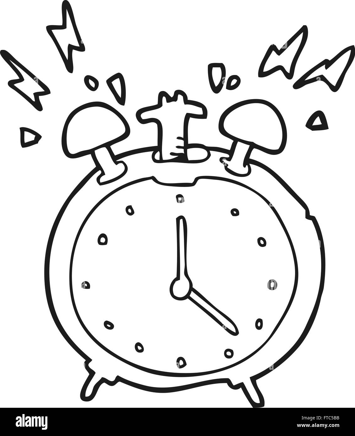 freehand drawn black and white cartoon ringing alarm clock stock Clock Hands freehand drawn black and white cartoon ringing alarm clock
