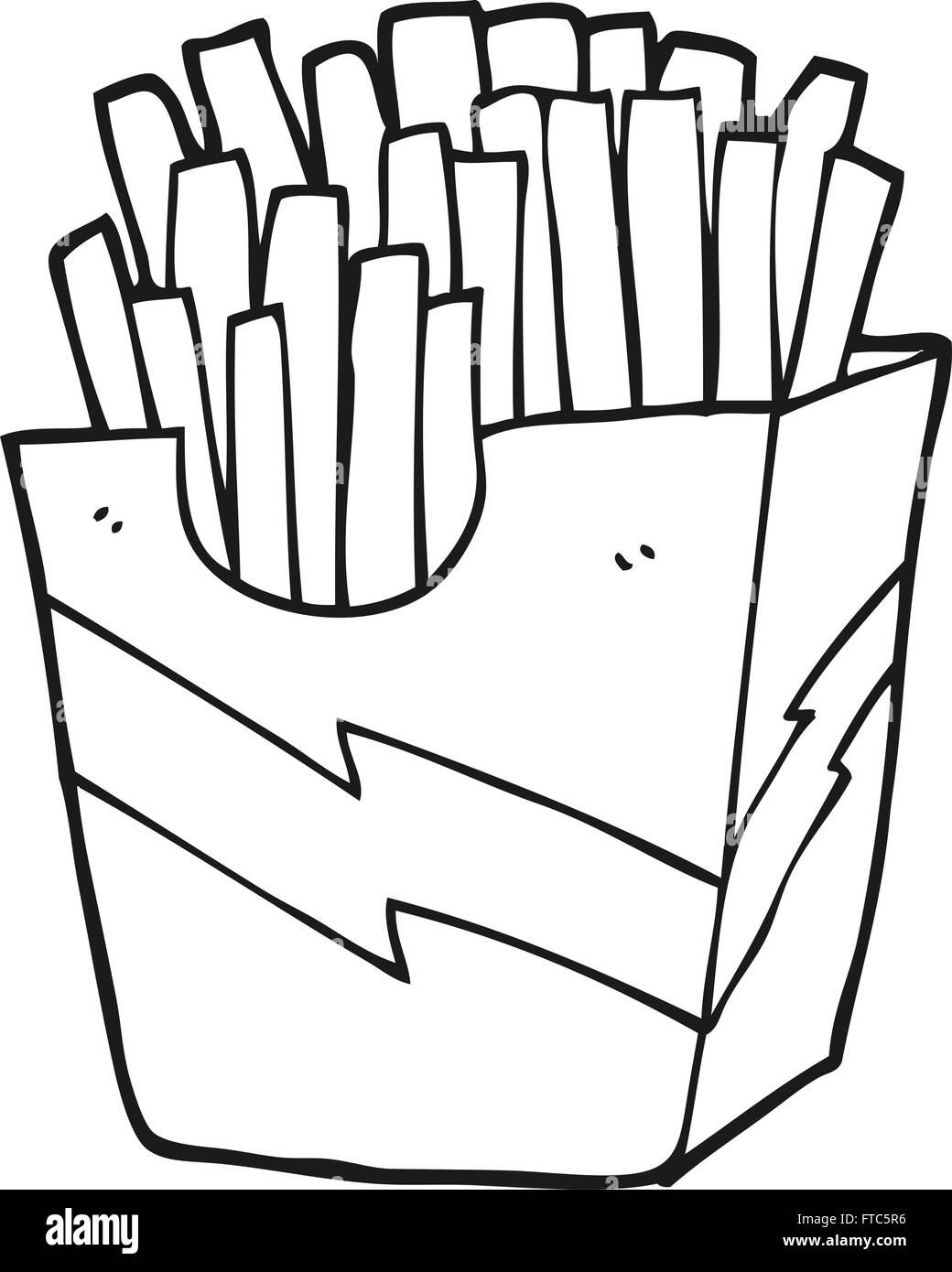 Freehand Drawn Black And White Cartoon French Fries Stock Vector Art