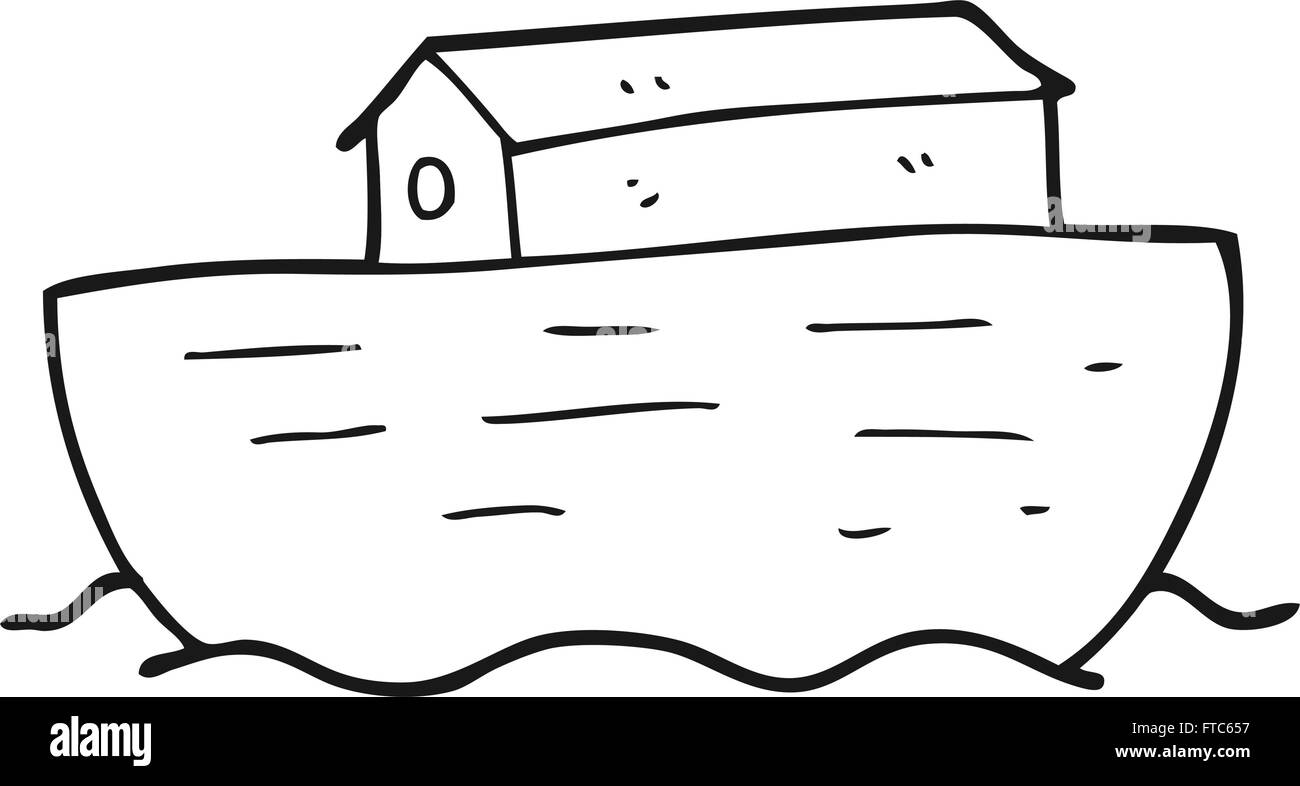 Freehand Drawn Black And White Cartoon Noahs Ark Stock