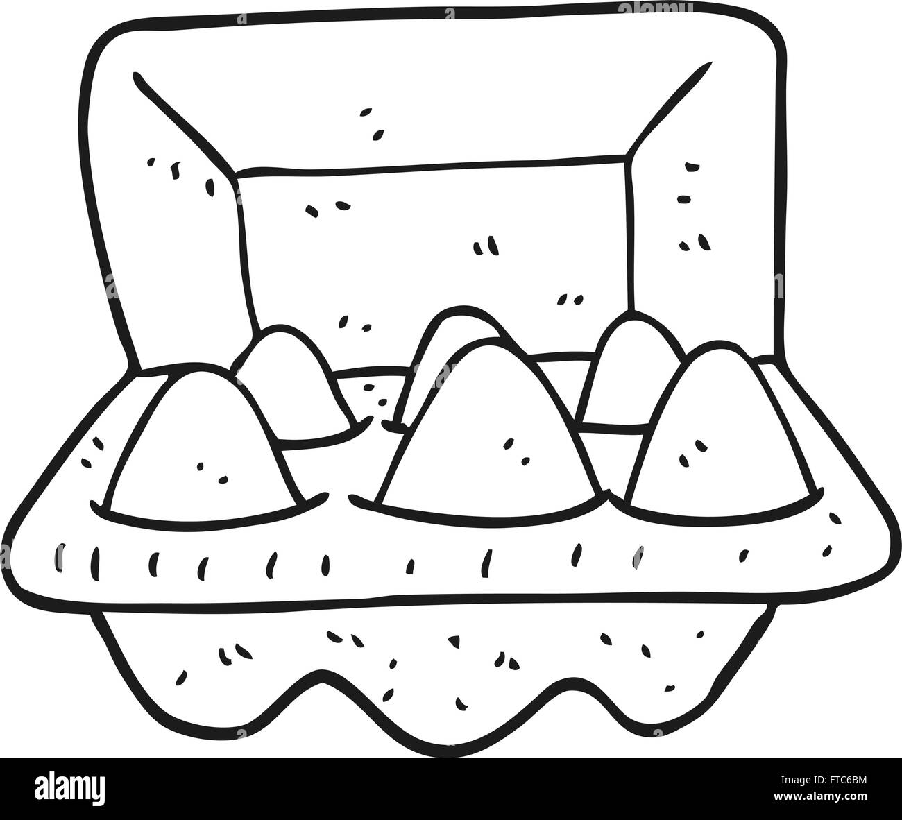 freehand drawn black and white cartoon eggs in box stock vector art