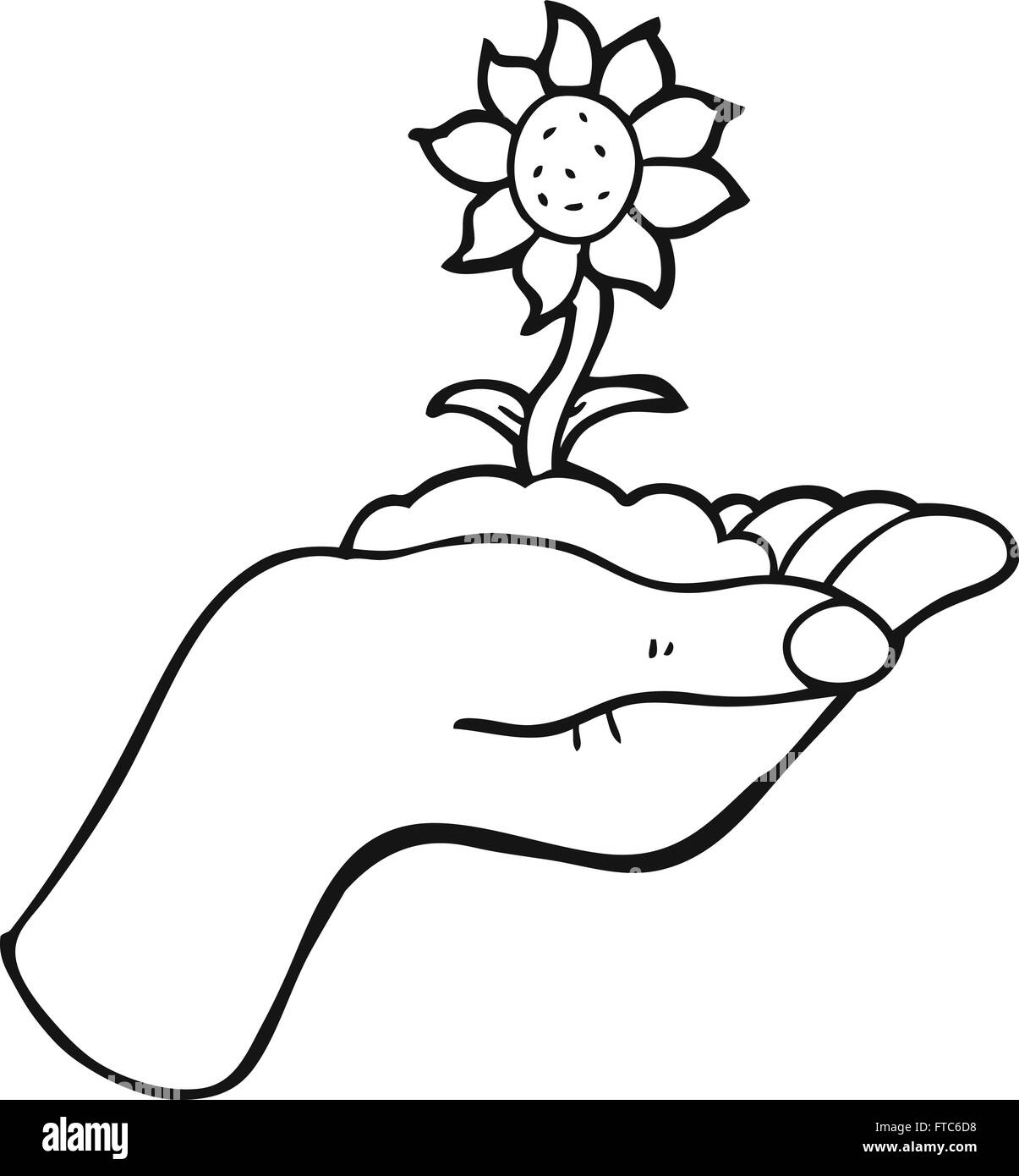 Freehand Drawn Black And White Cartoon Flower Growing In Palm Of