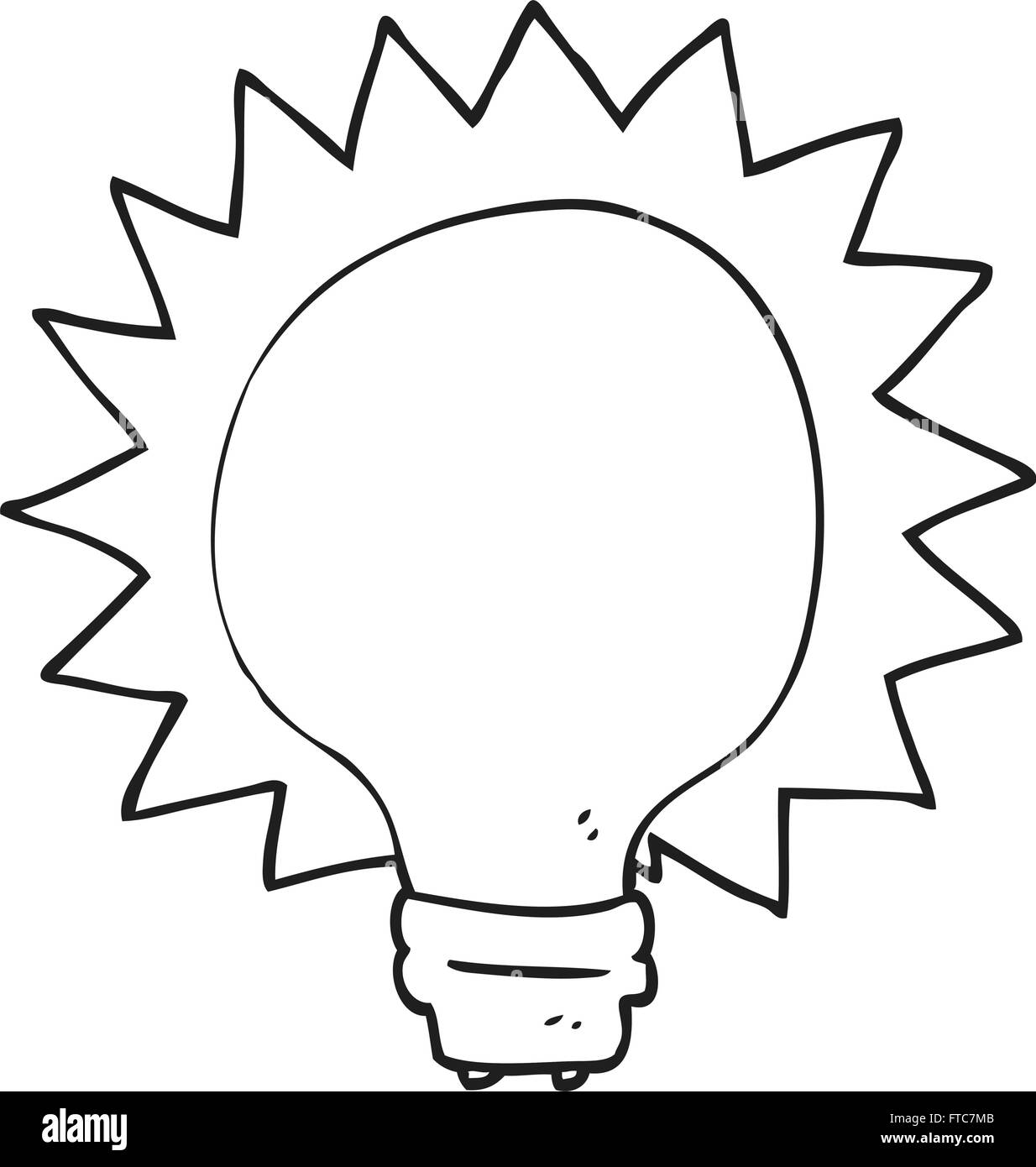 Freehand Drawn Black And White Cartoon Light Bulb Stock Vector Art