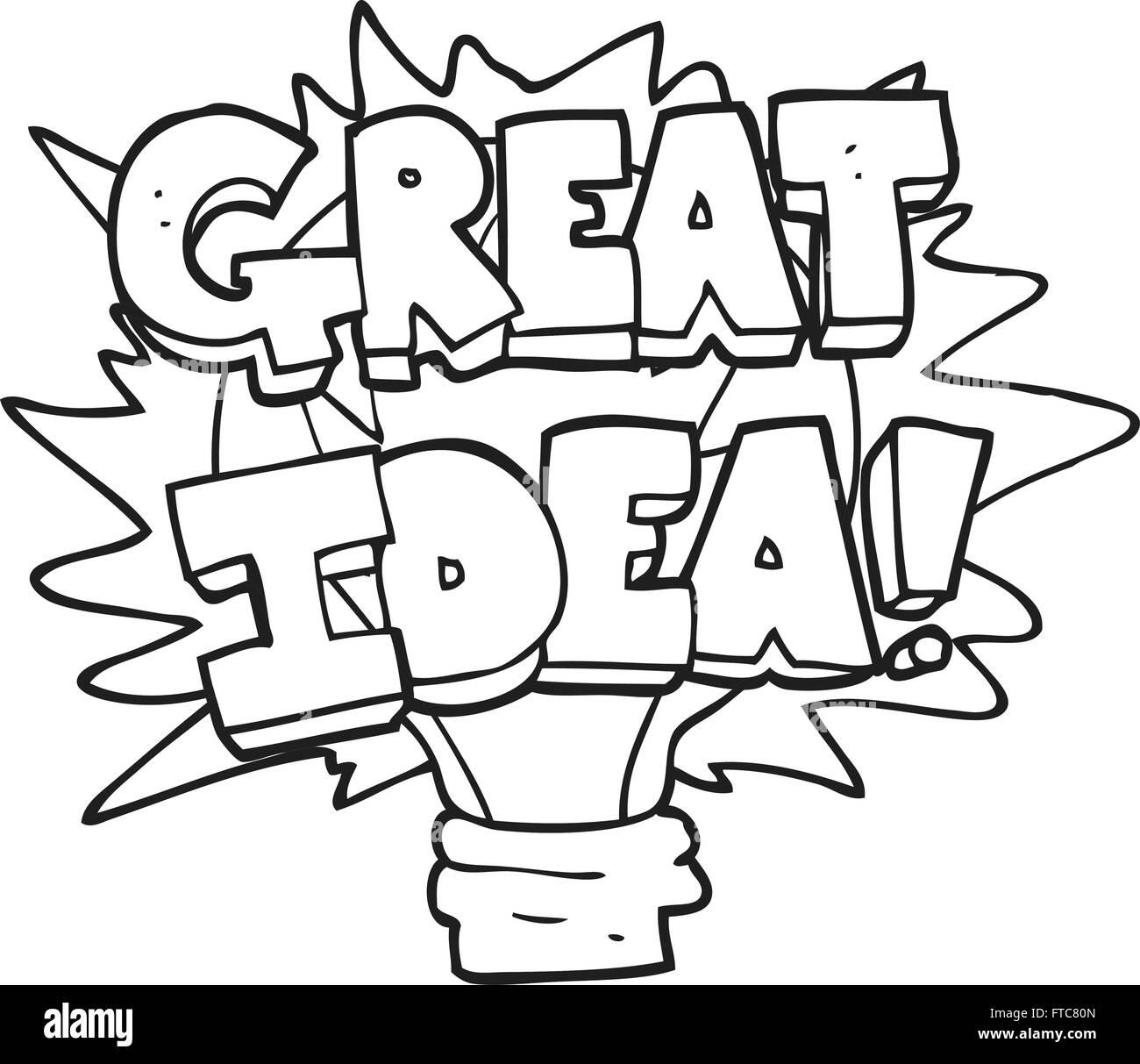 freehand drawn black and white cartoon great idea light bulb symbol ...