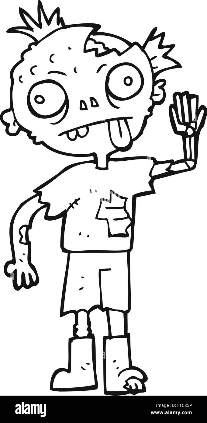 Freehand Drawn Black And White Cartoon Zombie Stock Vector Art