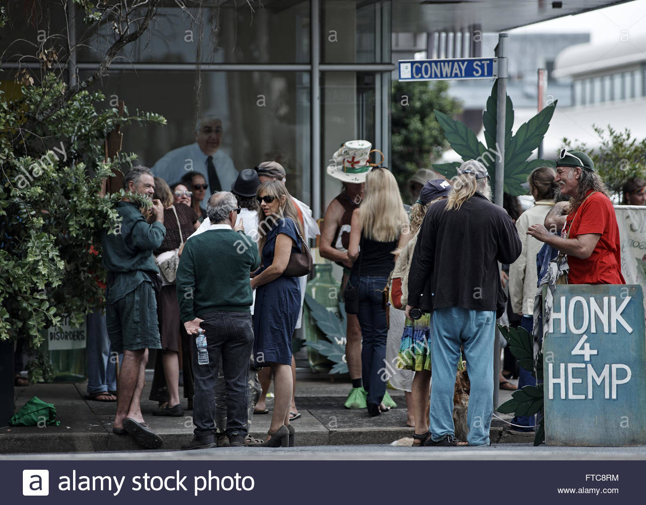 Protestors gathered outside Mayor Thomas Wilmot's office in Conway St., for the saliva-testing and hemp-law - Stock Image