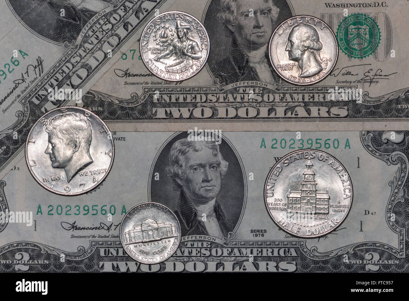 US Mint coinage and bank notes from bicentennial 1976 - Stock Image