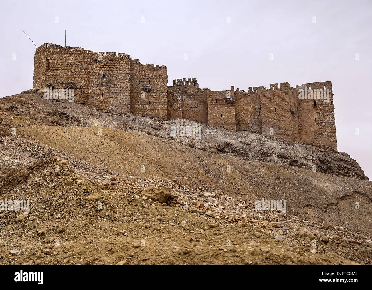 Palmyria, Syria. 26th Mar, 2016. Fakhr al-Din al-Maani Citadel in Palmyra, a UNESCO world heritage site, after it - Stock Image