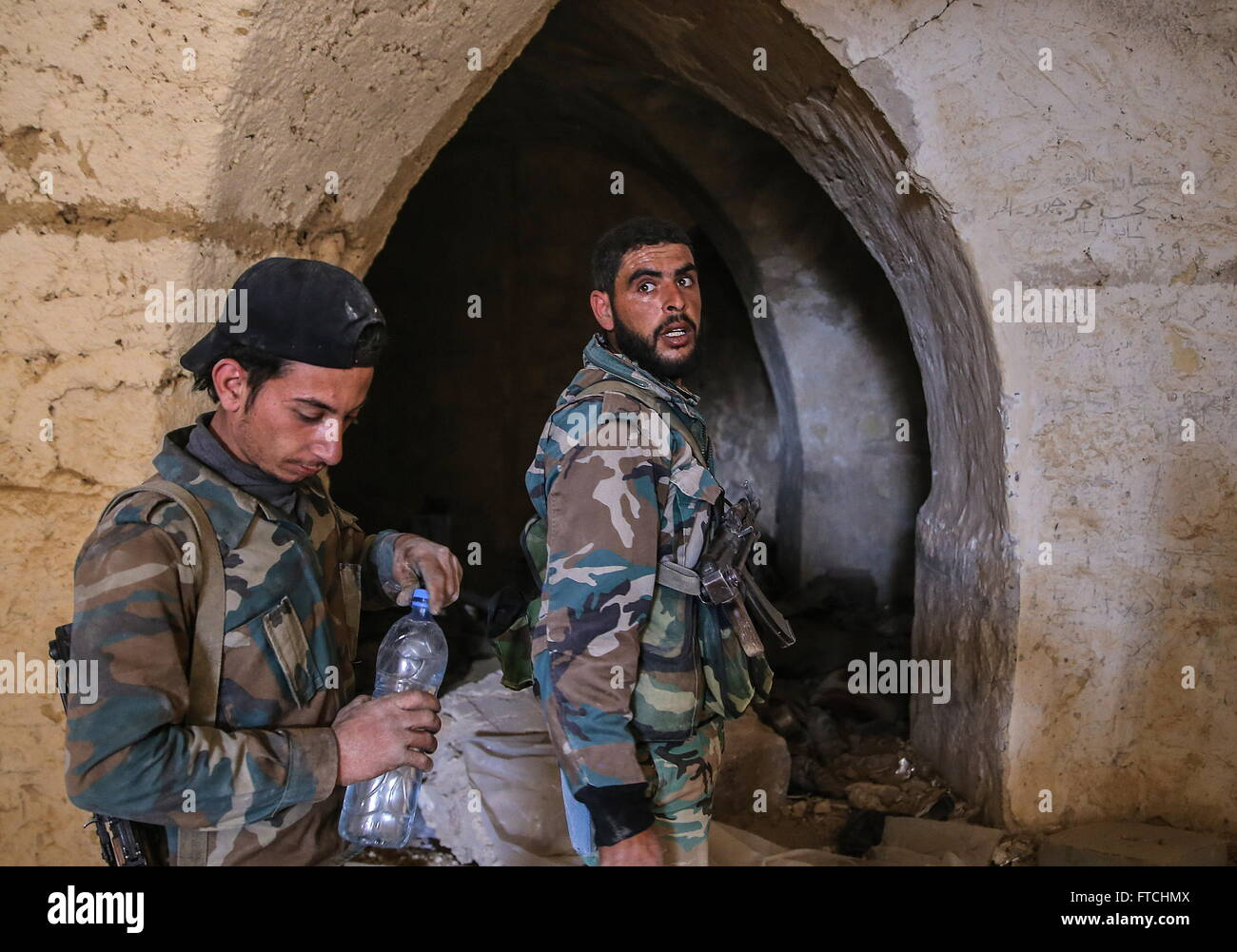Palmyria, Syria. 26th Mar, 2016. Syrian government army soldiers in Fakhr al-Din al-Maani Citadel in Palmyra, a - Stock Image