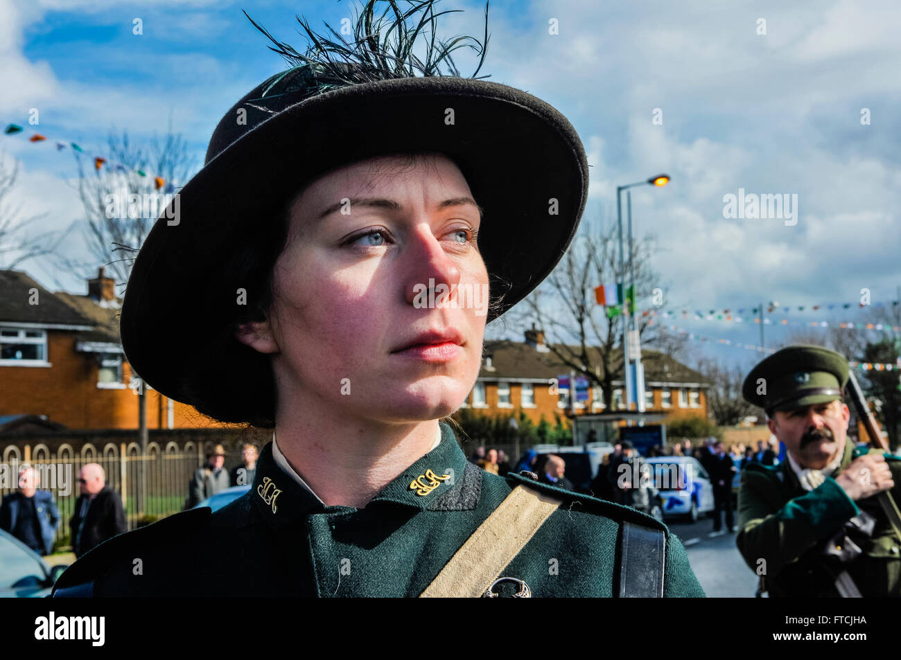 Belfast, Northern Ireland. 27 Mar 2016 - A woman dressed in a reproduction uniform for the Irish Citizen Army from Stock Photo