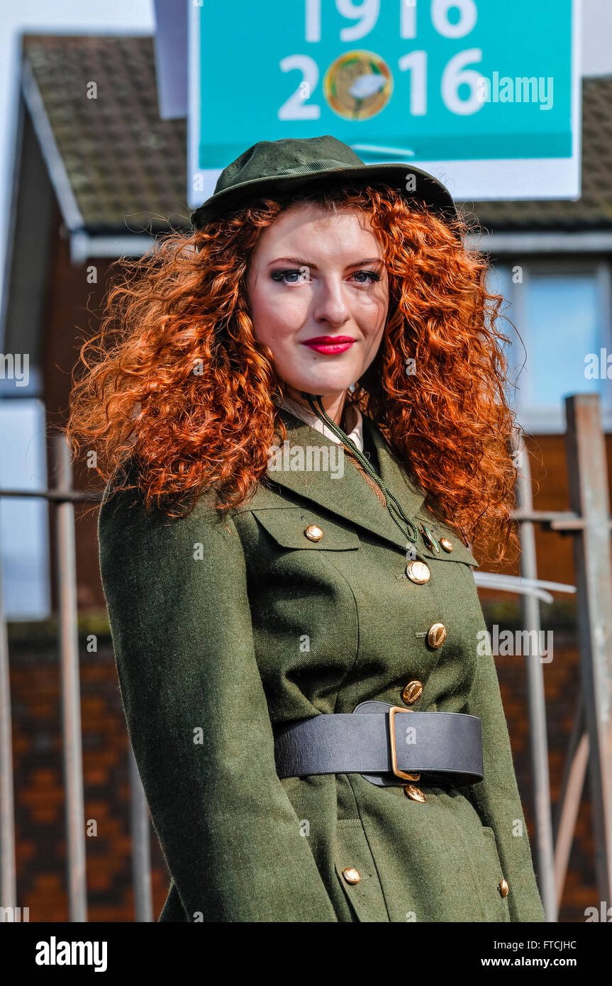 Belfast, Northern Ireland. 27 Mar 2016 - Connlaith Pickering wearing a reproduction military uniform from the Irish - Stock Image