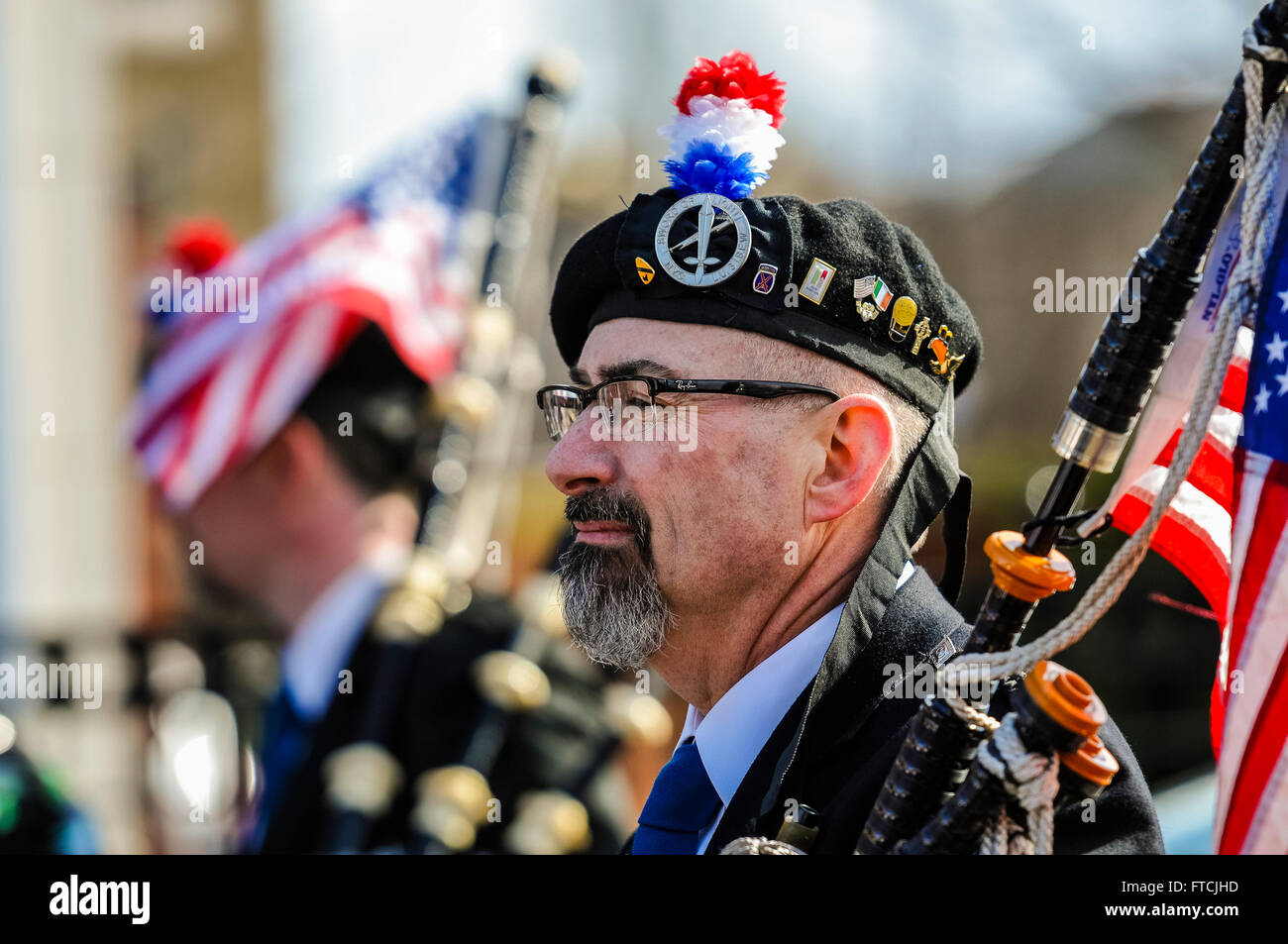 Belfast, Northern Ireland. 27 Mar 2016 - Bagpiper from New York at the Easter Rising centenary celebration parade. Stock Photo