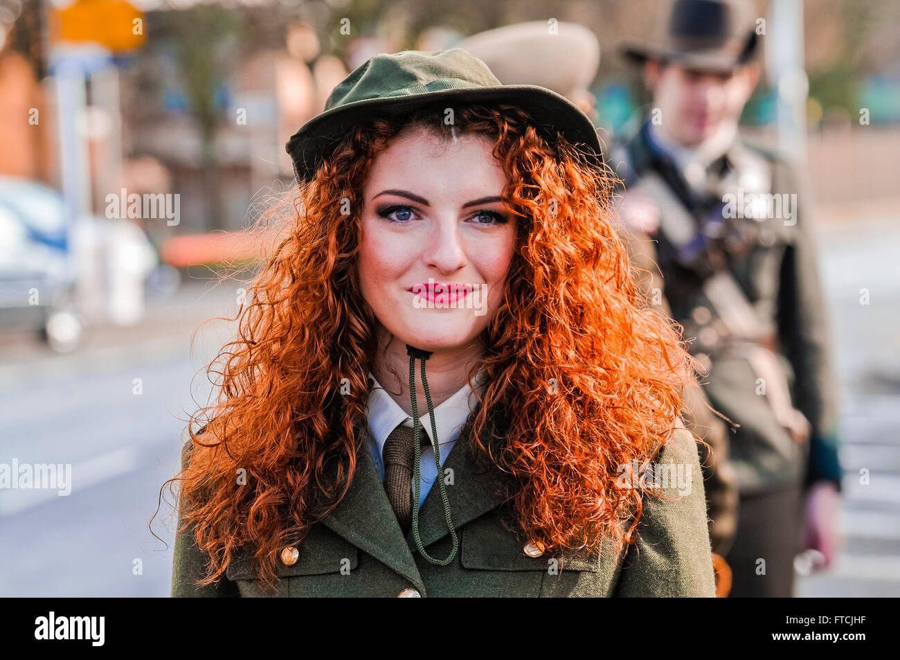Belfast, Northern Ireland. 27 Mar 2016 - Connlaith Pickering wearing a reproduction military uniform from the Irish Stock Photo