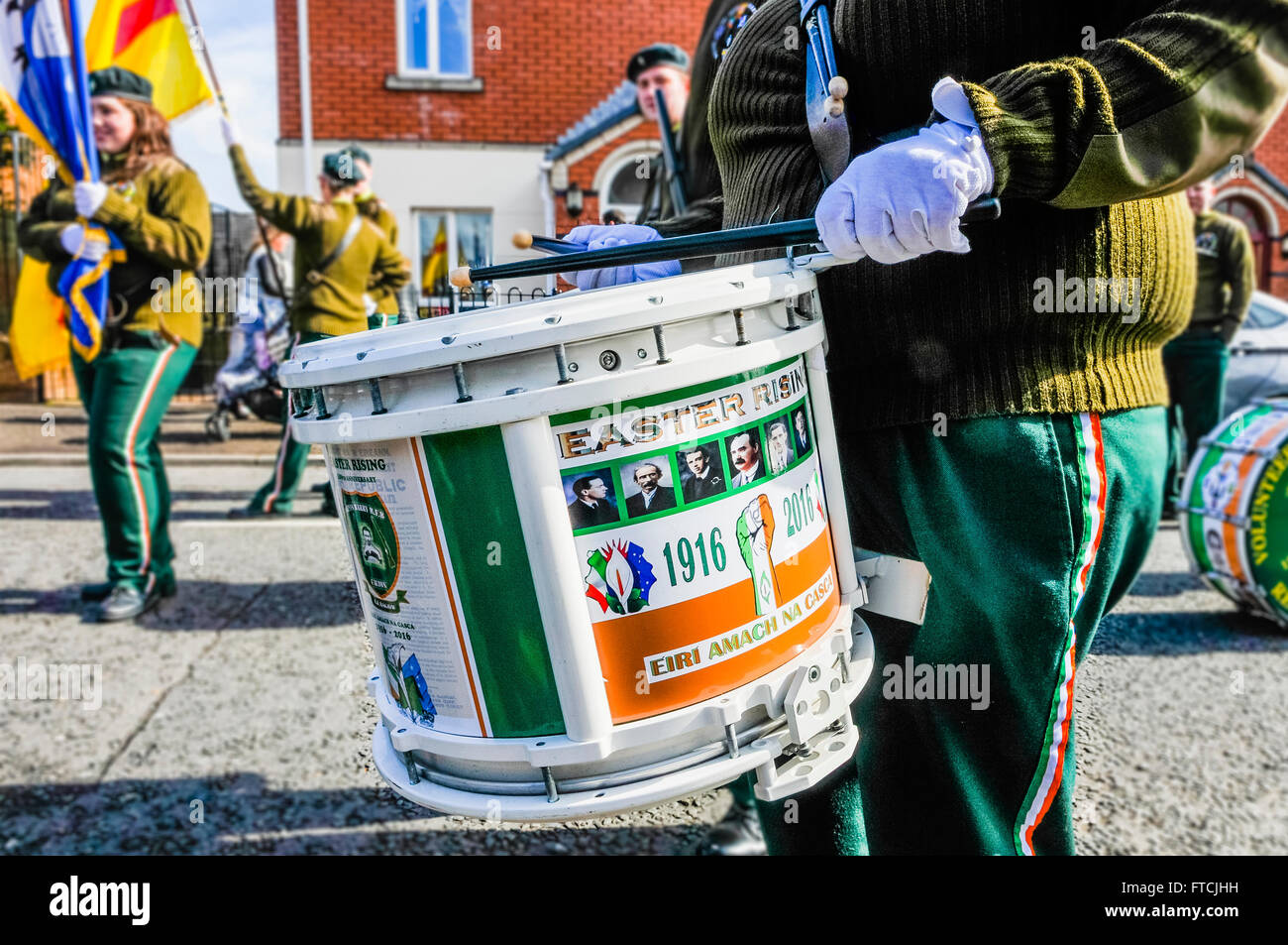 Belfast, Northern Ireland. 27 Mar 2016 - Scottish drummer at the Easter Rising centenary celebration parade. Credit: Stock Photo