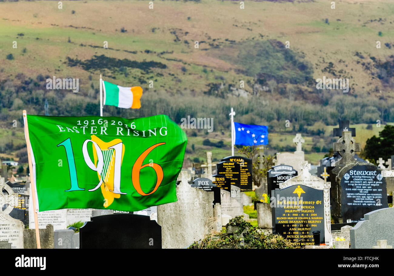 Belfast, Northern Ireland. 27 Mar 2016 - A 1916/2016 Centenary flag, Irish Tricolour and The Starry Plough flying Stock Photo