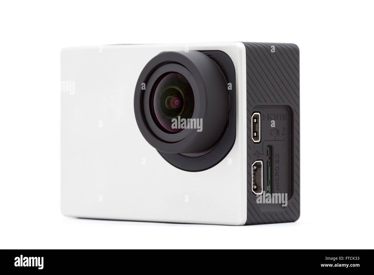 extreme sport camera on white background - Stock Image