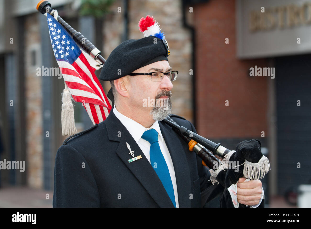 Falls Road, Belfast,UK 27th March 2016 American Irish Pipe Band at the Easter Rising 100th Anniversary  Parade Credit: Stock Photo