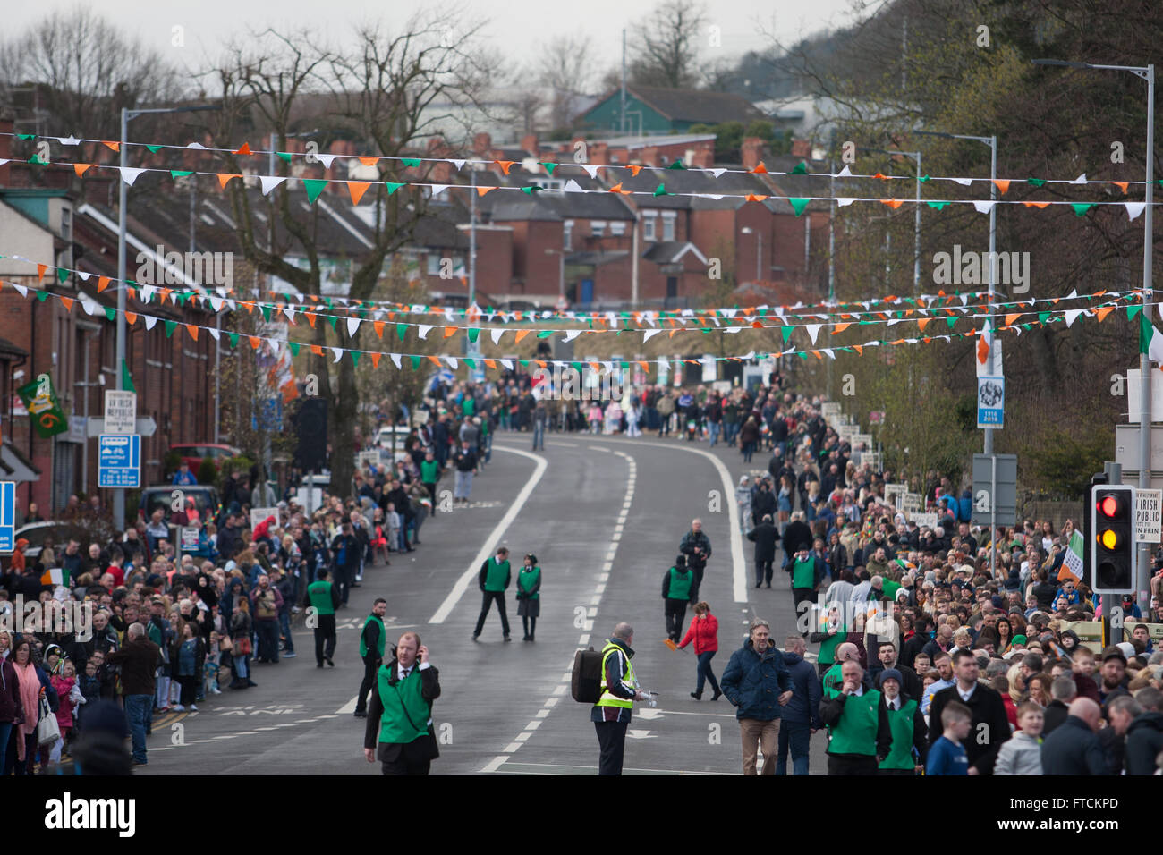 Falls Road, Belfast,UK 27th March 2016 A large crowd at the Easter Rising 100th Anniversary  Parade Credit:  Bonzo/Alamy - Stock Image