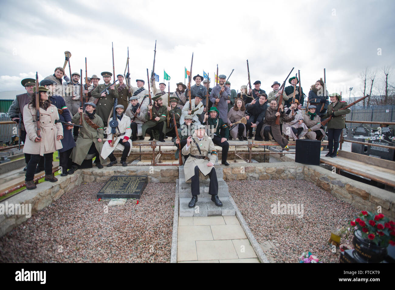 Falls Road, Belfast,UK 27th March 2016 People dressed in period  uniforms of the 1916 Easter Rebellion at the Easter - Stock Image