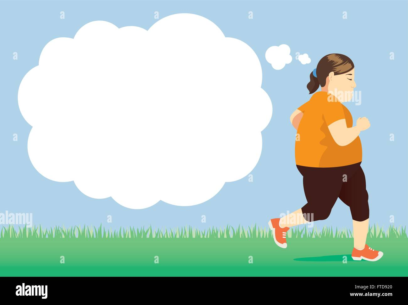 Fat woman try to lose weight by jogging in park - Stock Vector