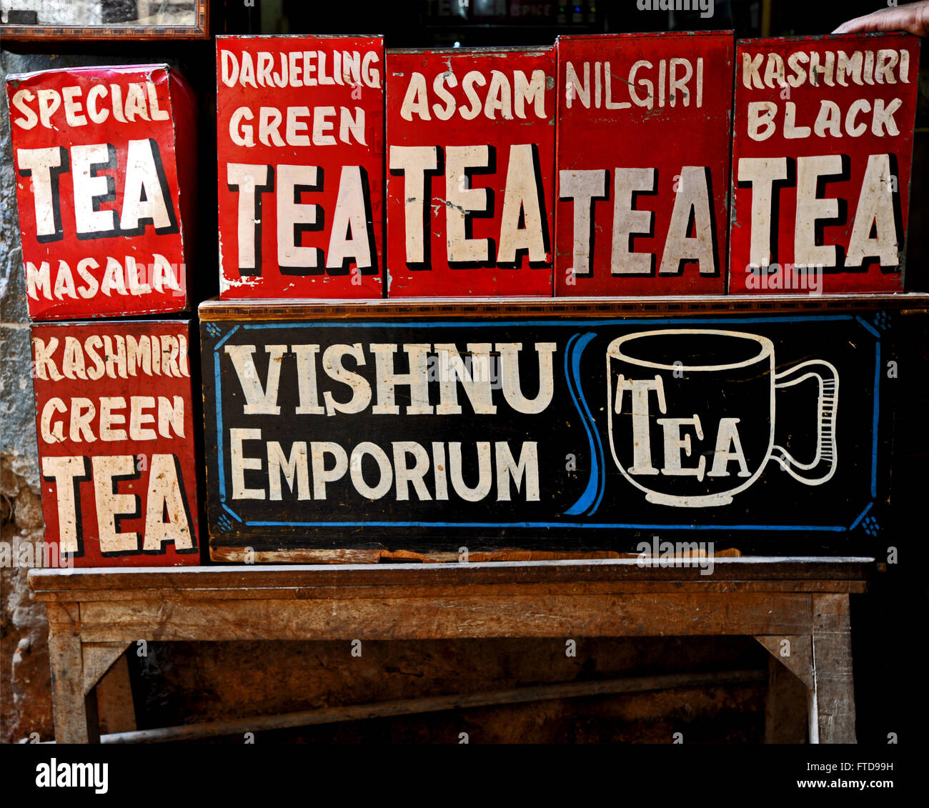Display of tins containing different kind of tea in a shop in India Stock Photo