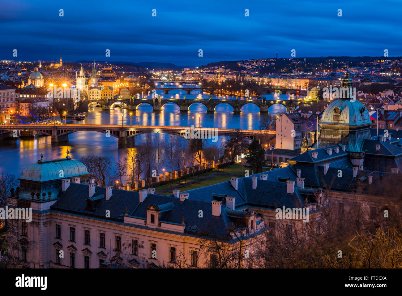 Prague at night with Vltava river view - Stock Image