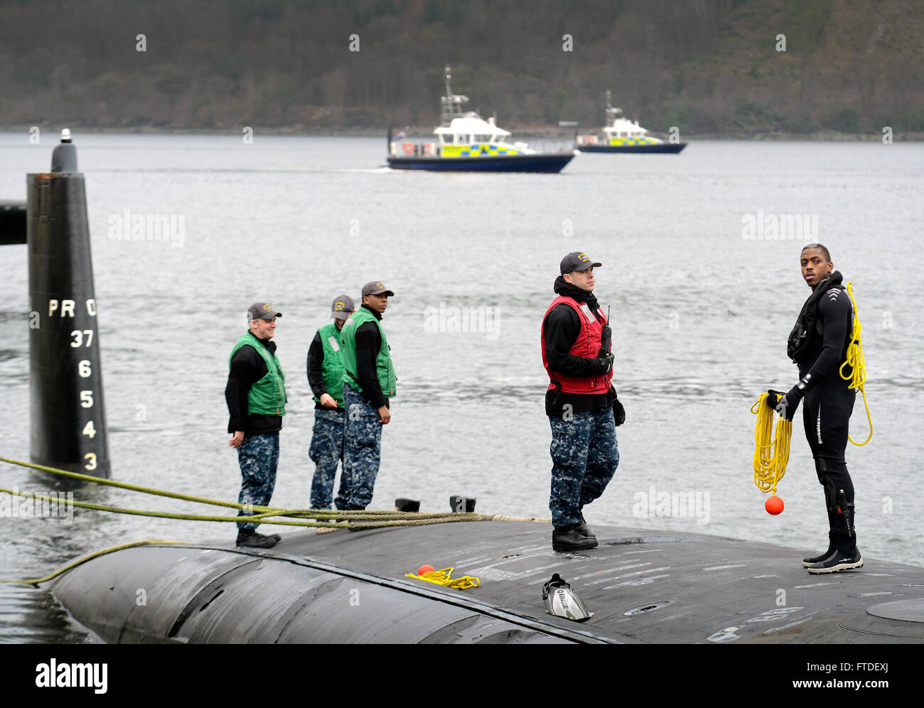 160322-N-ZZ999-006 FASLANE, United Kingdom (March 22, 2016) The Virginia-class attack submarine USS Virginia (SSN - Stock Image