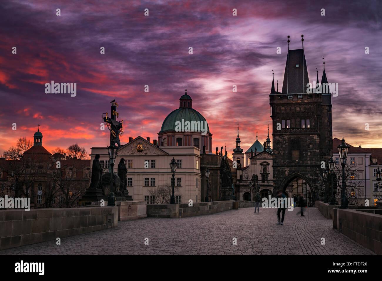 Prague sunrise in Charles bridge - Stock Image