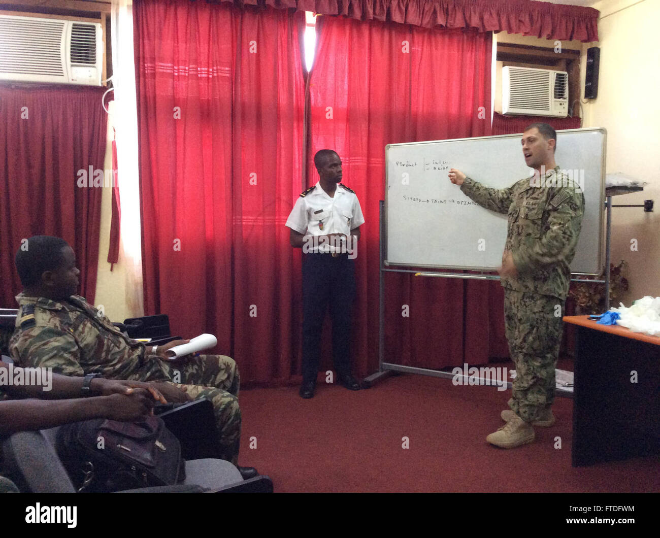 150923-M-ZZ999-300 DOUALA, Cameroon  (Sept. 23, 2015) Lt. Chris Jordan, intelligence officer for Commander, Task Stock Photo
