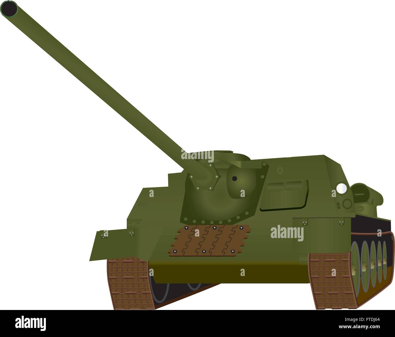 A Heavy World War 2 Tank isolated on white - Stock Vector