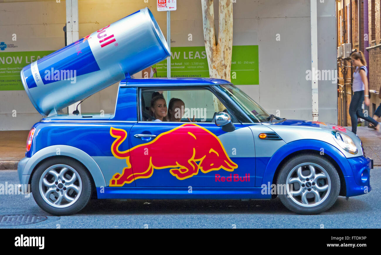 Red Bull promotional car with sales girls Brisbane ...