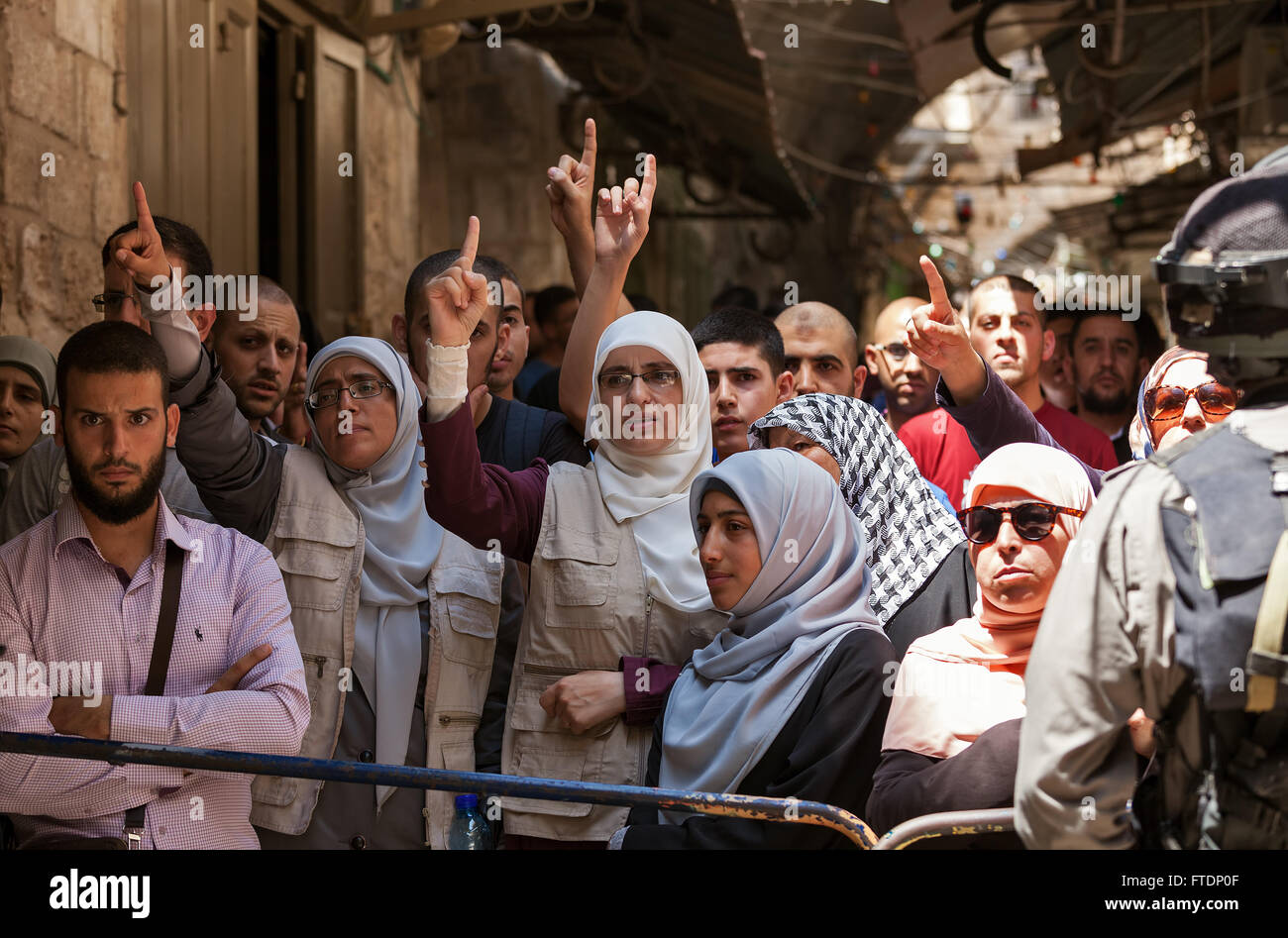 Palestinians protest in Old City of Jerusalem against ascent of religious Jews to Temple Mount in Jerusalem. - Stock Image