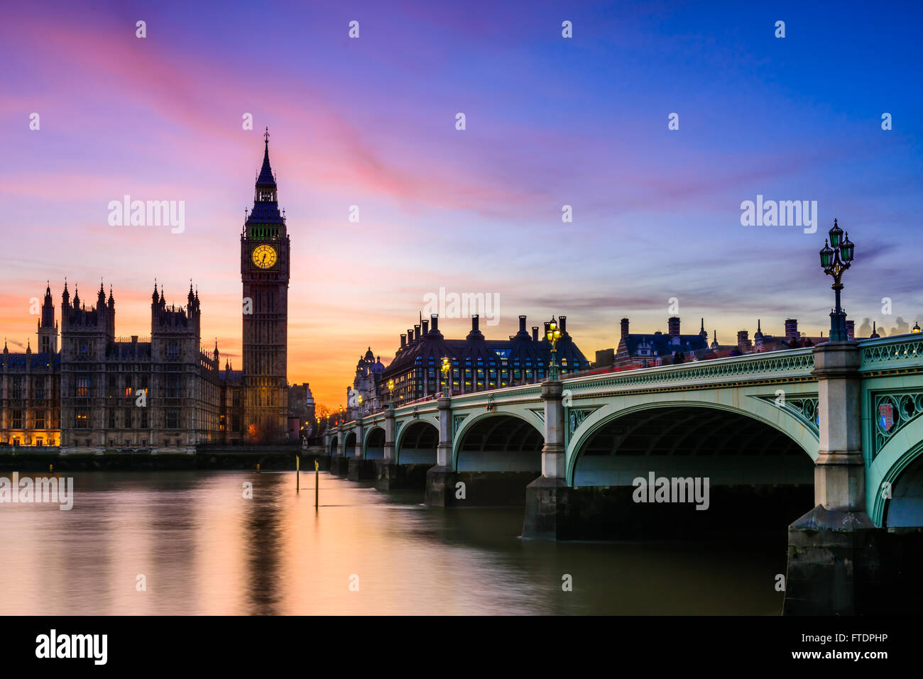 Beautiful Sunset over the London skyline and the House of Parliament on Friday, 28th March, 2016. London, United - Stock Image