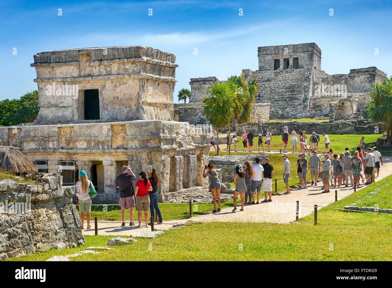 Ancient Maya Ruins, Tulum, Yucatan Peninsula, Mexico - Stock Image