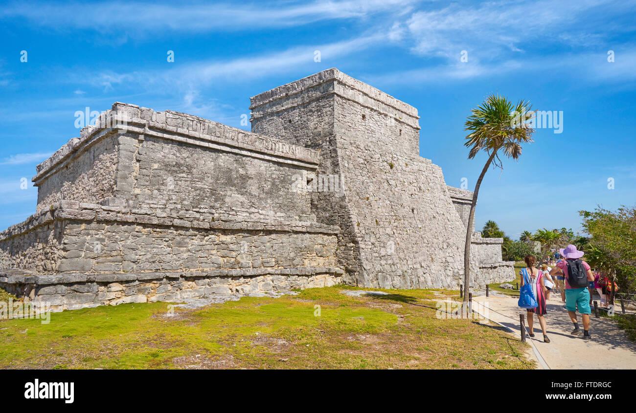 Ancient Maya Ruins, Main Temple of Tulum, Yucatan Peninsula, Mexico - Stock Image