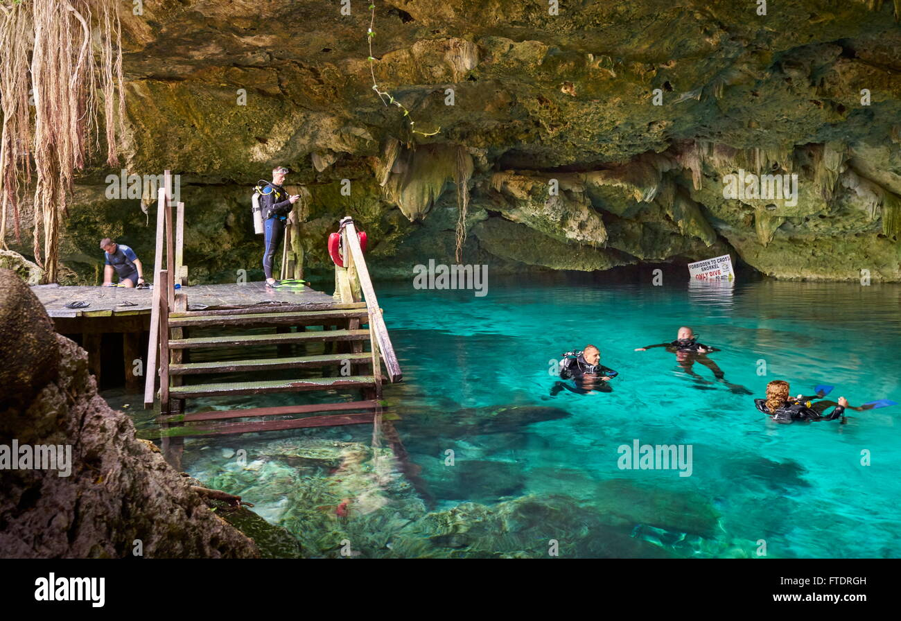 Yucatan, Mexico - Divers in Two Eyes Cenote, Cénote Dos Ojos - Stock Image