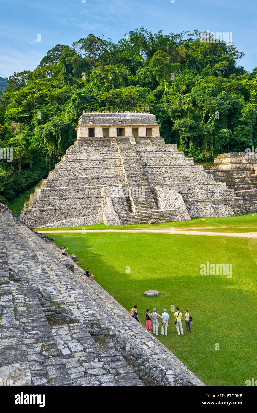 Ancient Maya Ruins in Palenque Archaeological Site - Temple of Inscriptions, Palenque, Mexico, UNESCO - Stock Image
