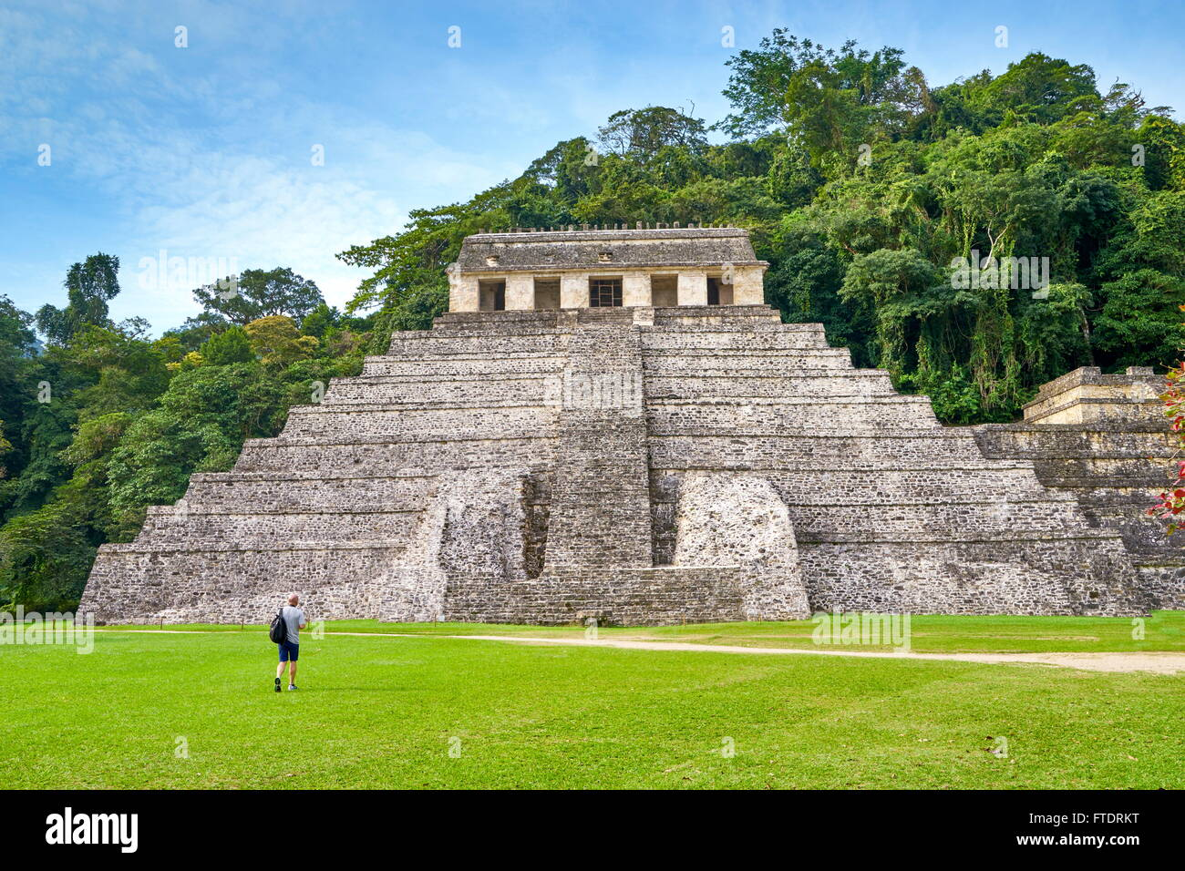 Mexico - Temple of Inscriptions or Templo de Inscripciones, Maya Ruins, Palenque Archaeological Site, Palenque, - Stock Image