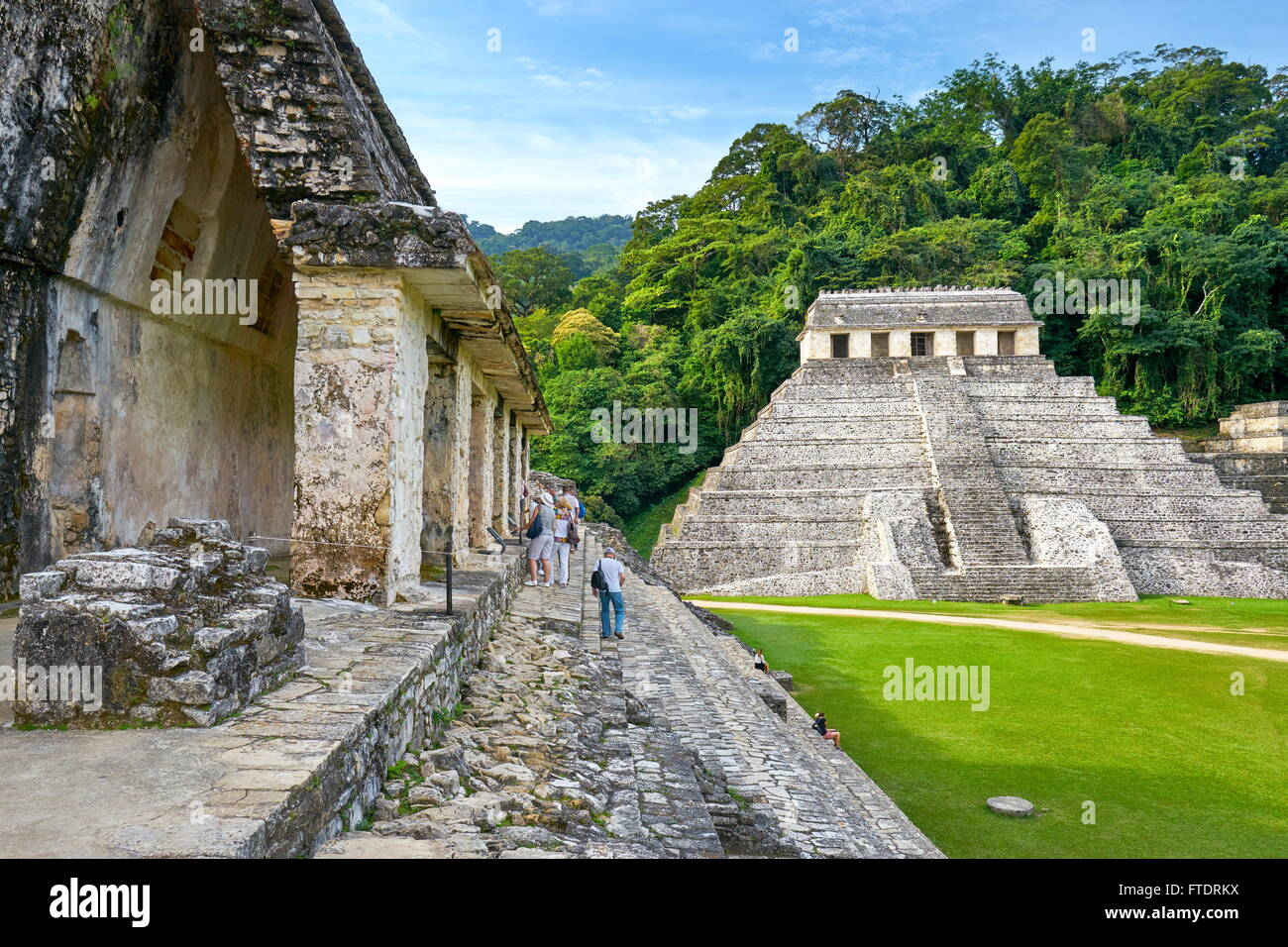 Temple of Inscriptions or Templo de Inscripciones, Ancient Maya Ruins, Palenque Archaeological Site, Palenque, Mexico, - Stock Image