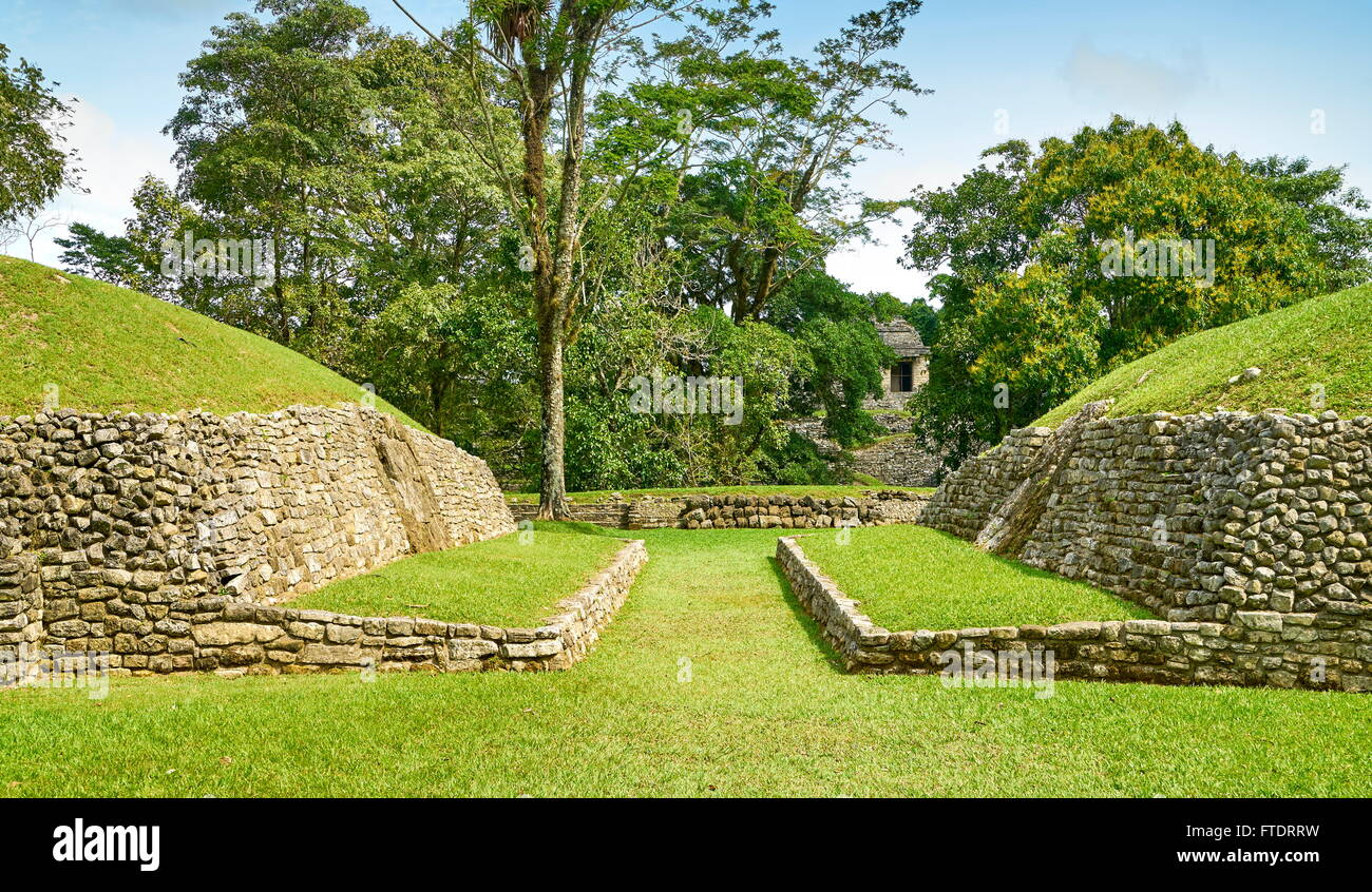 The Ball Court, Palenque Archaeological Park, Chiapas, Mexico - Stock Image