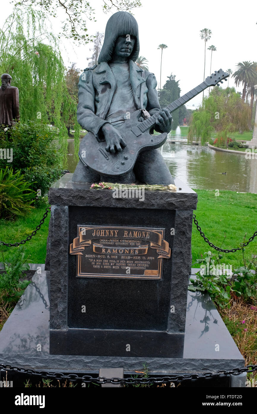 Final resting place of Johnny Ramone of the Ramones, Hollywood Forever Cemetery, Los Angeles, California - Stock Image